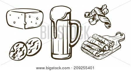 hand drawn sketches of draft beer and snacks on a white background