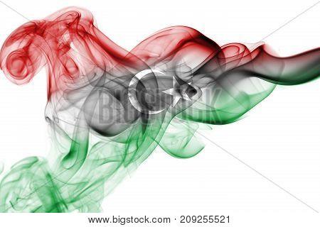 Libya smoke flag isolated on a white background