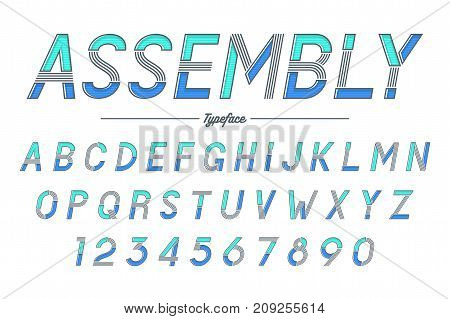 Assembly vector decorative italic font design alphabet typeface typography. Vector illustration