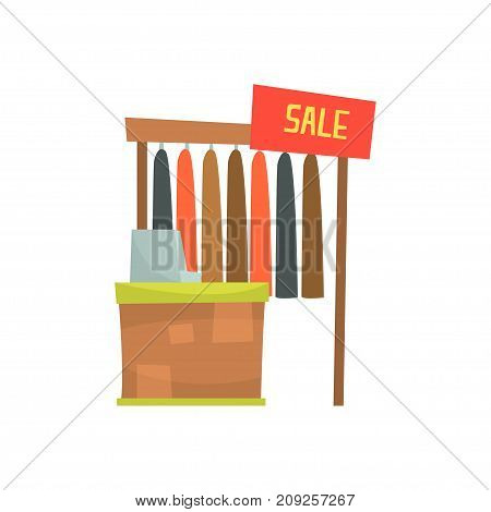 Clothing store with cash desk, sales counter in shop cartoon vector Illustration isolated on a white background