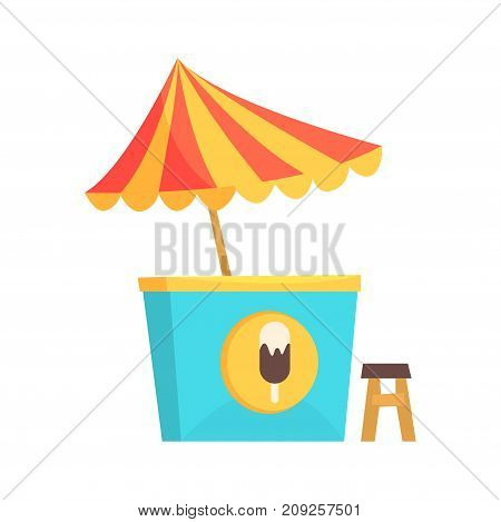 Ice cream kiosk, market stall for external usage cartoon vector Illustration isolated on a white background