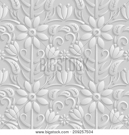 Seamless 3D white pattern natural floral pattern vector. Endless texture can be used for wallpaper pattern fills web page background surface textures.