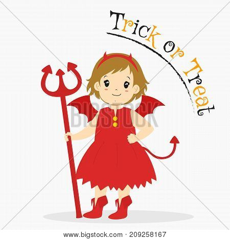 cute girl in red devil costume with her hand on waist and holding a trident. Halloween cartoon vector