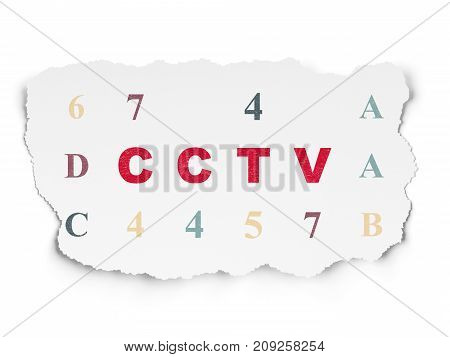 Privacy concept: Painted red text CCTV on Torn Paper background with  Hexadecimal Code