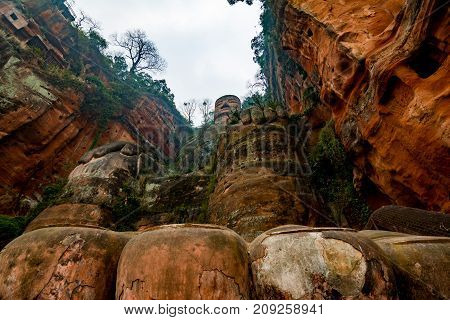 View of the Buddha statue in Leshan, China. Leshan Buddha is the world's largest statue of Buddha, whose height is 71 meters.