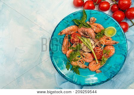Bbq Grilled Shrimps On Blue Plate On Blue Background  Serving With Cherry Tomato, Parsley, Basil, Le