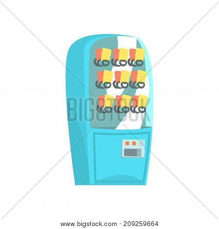 Blue vending machine, automatic seller cartoon vector Illustration isolated on a white background