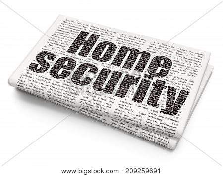 Protection concept: Pixelated black text Home Security on Newspaper background, 3D rendering