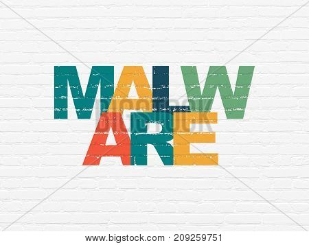 Security concept: Painted multicolor text Malware on White Brick wall background