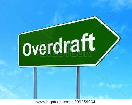 Finance concept: Overdraft on green road highway sign, clear blue sky background, 3D rendering