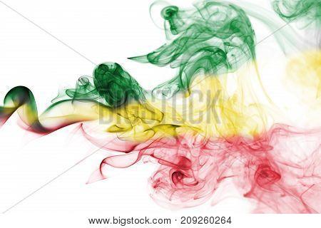 Ethiopia smoke flag isolated on a white background