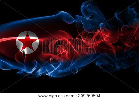 North Korea smoke flag isolated on a black background