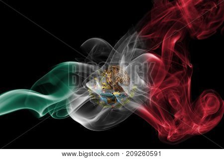 Mexico smoke flag isolated on a black background