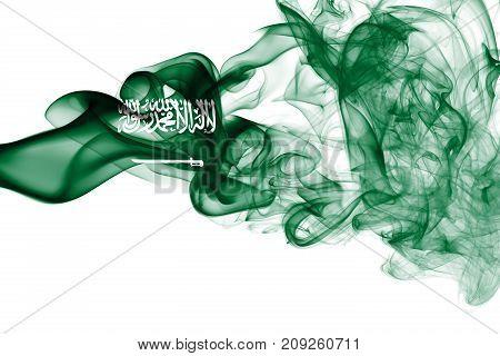 Saudi Arabia smoke flag  isolated on a white background