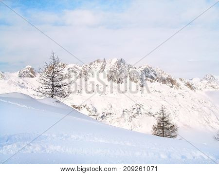 Aerial view of mountain peaks winter ski resort, French Alps, France