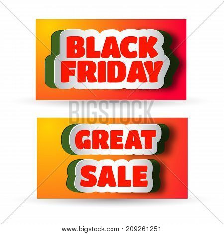 Two advertising horizontal banners with stickers cut from paper and text about black friday and great sale flat vector illustration
