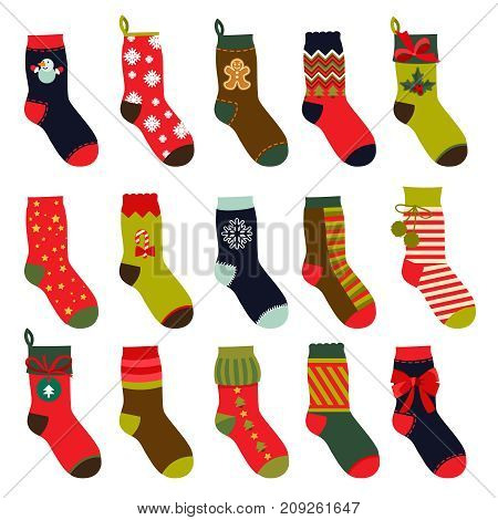 Set of christmas socks. Vector illustrations in flat style. Christmas winter sock for gift holiday