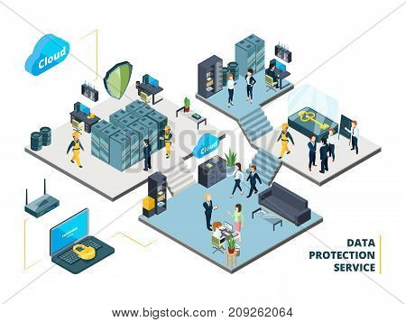 Telecommunications tools. Big datacenter with specific systems and cloud servers. Isometric illustrations of network company interior datacenter with people