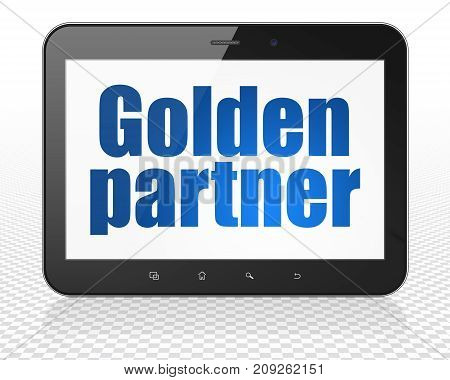 Finance concept: Tablet Pc Computer with blue text Golden Partner on display, 3D rendering