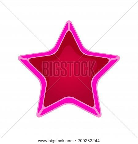 Pink cartoon star vector Illustration isolated on a white background