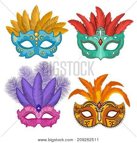 Colored pictures of carnival or theatre masks with feathers. Vector illustrations set in cartoon style. Carnival and masquerade costume mask, venetian mardi gras carnival mask