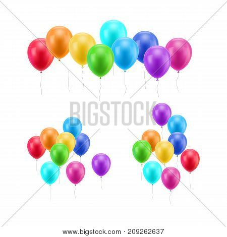 Lot flying balloons white background. A lot of flying balloons on a white background for designers and illustrators. Bunch of balls in the form of vector illustration