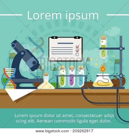 Biological or chemical laboratory for different experiments. Vector background in cartoon style. Laboratory medicine with glass for medical test illustration