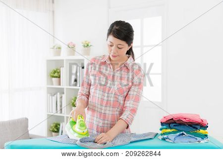 Sweet Pretty Housekeeper Ironing Family Clothing