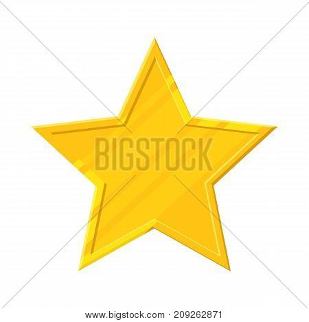 Gold star icon. Sign of awards, rating service, achievements, order, winning in game. Vector illustration in cartoon style isolated on white background
