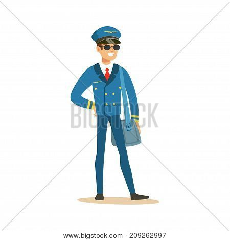 Smiling airline pilot character in blue uniform and sunglasses standing with bag, aircraft captain vector Illustration on a white background