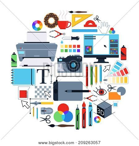 Vector pictures of tools for graphic designers. Icons set in circle shape. Tool drawing in circle, pencil and brush, tablet and pen, paintbrush and ruler illustration