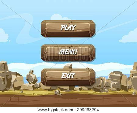 Vector cartoon style stone buttons with text for game design on rocks and sky background. Template menu design for app game illustration