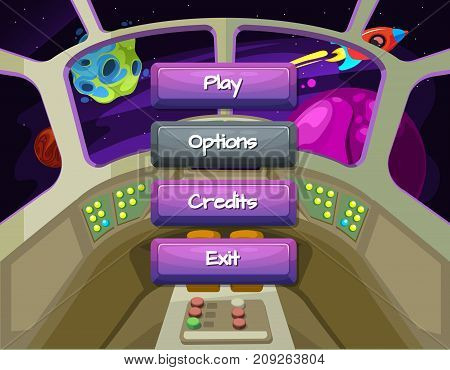 Vector cartoon style enabled and disabled buttons with text for game design on spaceship texture background. Game interface button in spaceship interior illustration