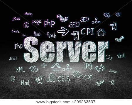 Web development concept: Glowing text Server,  Hand Drawn Site Development Icons in grunge dark room with Dirty Floor, black background