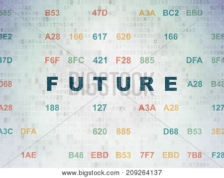 Timeline concept: Painted blue text Future on Digital Data Paper background with Hexadecimal Code