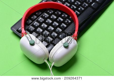 Music And Digital Equipment Concept. Earphones In Red And White