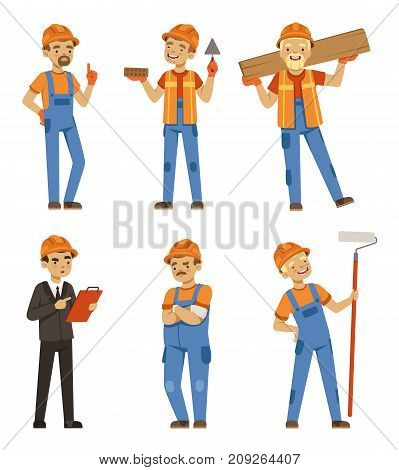 Mascot design of builders in different action poses. Industrial workers in specific uniform. Worker builder and engineer character, repairman occupation industrial. Vector illustration isolate