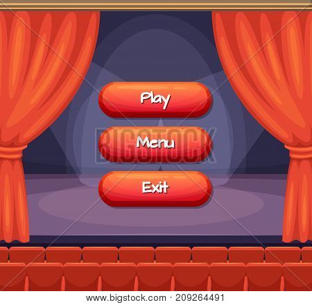 Vector cartoon style buttons with text for game design on theater scene with curtains background. Interface game menu illustration