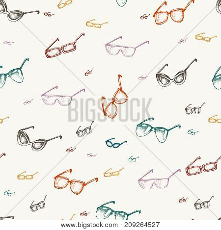 Different glasses types seamless pattern, doodle vector.