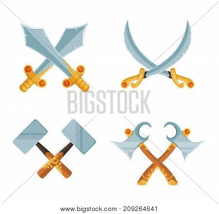 Vector set of cartoon game design crossed sword and axe weapons isolated on white background. Military vintage cross hammer illustration