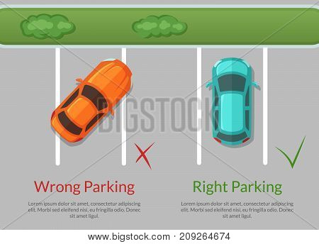 Vector wrong and right parking cars on the parking lot top view illustration. Car parking view road
