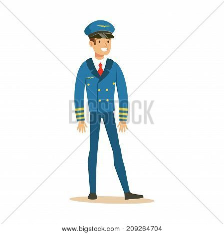 Smiling airline pilot character in blue uniform, aircraft captain vector Illustration on a white background