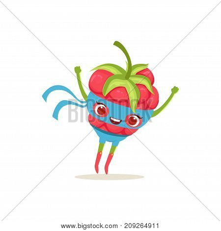 Cheerful cartoon character of superhero raspberry in classic comics costume and blue mask. Berry with super powers. Flying up. Flat vector isolated on white. For card, kid t-shirt, book illustration.