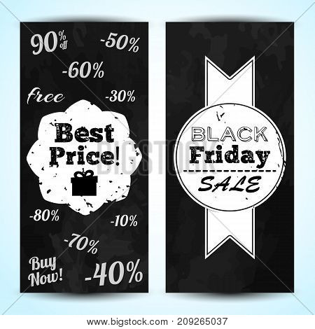 Two advertising vertical banners with black friday sale badges and percentage in chalkboard style flat vector illustration