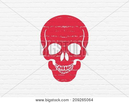 Medicine concept: Painted red Scull icon on White Brick wall background
