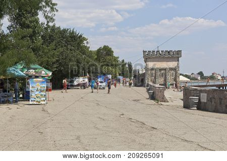 Evpatoria, Republic of Crimea, Russia - July 21, 2017: Embankment named after Tereshkova in the resort town of Evpatoria, Crimea