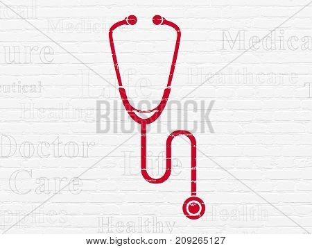 Health concept: Painted red Stethoscope icon on White Brick wall background with  Tag Cloud