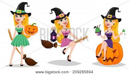 Halloween cute cartoon character for holiday. Set with beautiful lady witch flying on broom and witch sitting on pumpkin. Stock vector illustration.