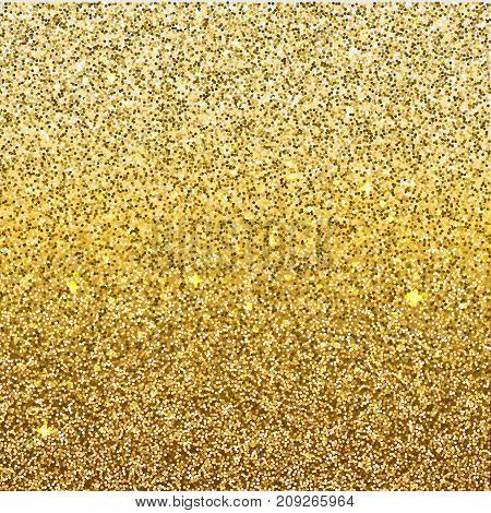 Golden gradient glittering background. Ombre sparkling backdrop for your design