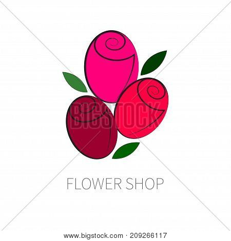Three red rose bud isolated on white background. Logo of flower shop. Icon delivery of fresh flowers. - Stock vector